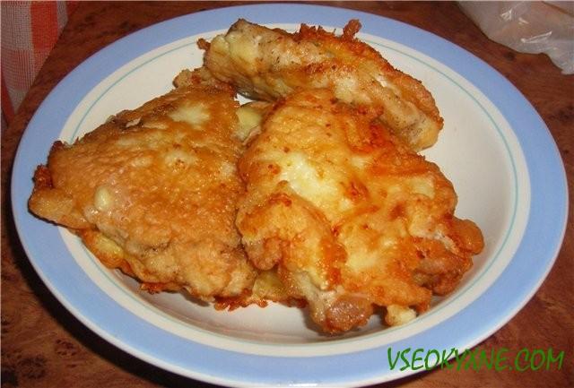 Рецепт куриных отбивных с сыром.