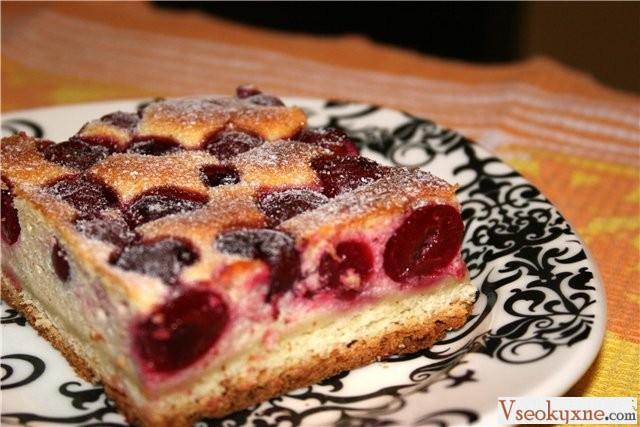Вишнево творожный пирог рецепт с фото