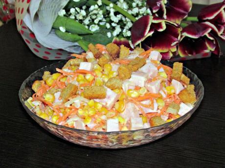 Салат с сухариками и корейской морковью
